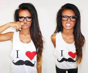 girl, hair, and moustache image
