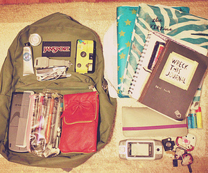 bag, backpack, and notebook image