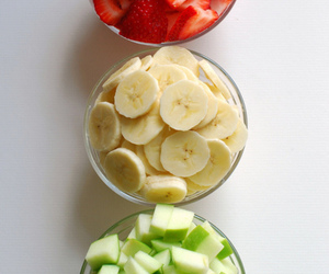 fruit, banana, and strawberry image