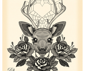 deer, tattoo, and heart image