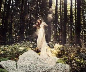 girl, violin, and wood image