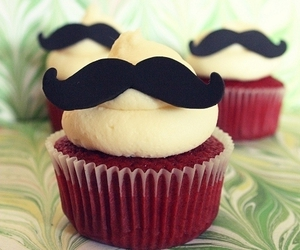 red velvet cupcakes and mustache cupcake image