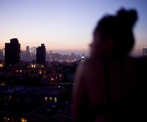 city, girl, and sunset image