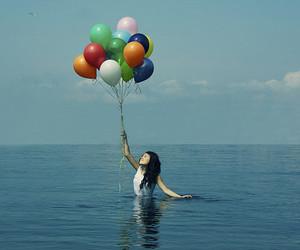 girl, balloons, and sea image