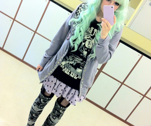 pastel goth, green hair, and pastel image