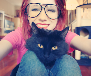 girl, cat, and glasses image