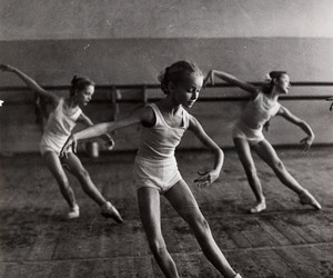 black and white, ballet, and young girl image