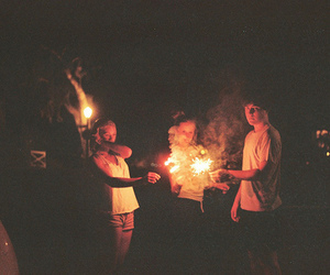 boy, friends, and fire image