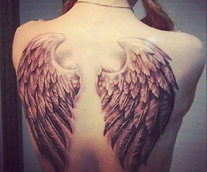 girl, tattoo, and wings image