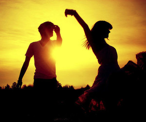 couple, sunset, and dance image