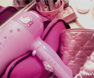 hairdryer, hello kittie, and cute image