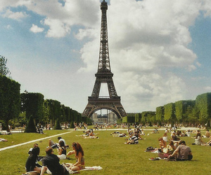 eiffel tower, france, and grass image