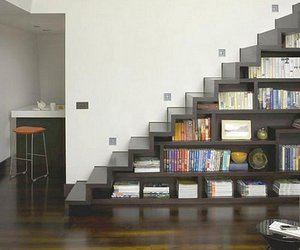book, stairs, and bookshelf image
