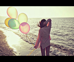 beach, summer, and balloons image