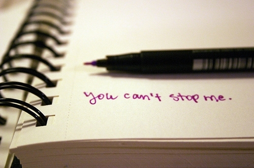 quote, stop, and pen image