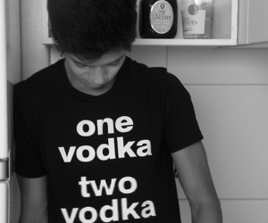 vodka, boy, and black and white image
