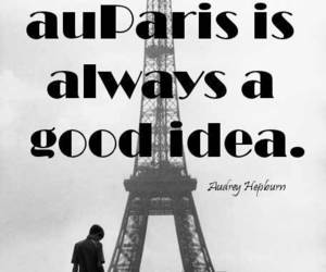 abroad, audrey hepburn, and eiffel tower image