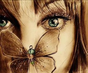 butterfly, girl, and eyes image