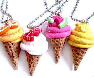 ice cream, necklace, and fruit image