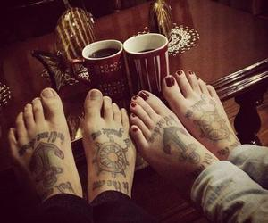 tattoo, couple, and feet image