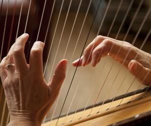 beautiful, hands, and harp image