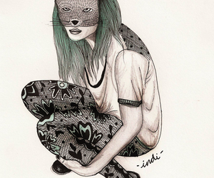 art, cat, and mask image