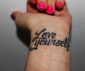 pink nails, tattoo, and love yourself image