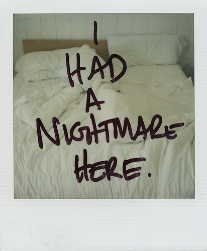 nightmare, polaroid, and bed image