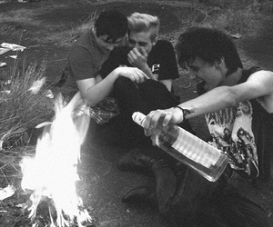 b&w, black and white, and fire image