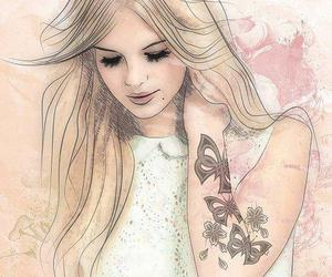 girl, drawing, and illustration image