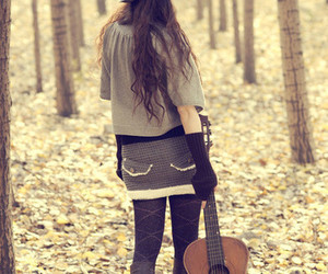 girl, guitar, and forest image
