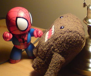 fight, spiderman, and domo image