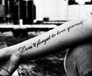 black and white, quote, and tattoo image