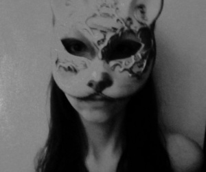 black and white, girl, and mask image