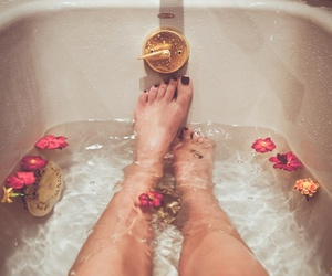 bath tube, pink, and bathing image