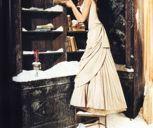 book, snow, and dress image