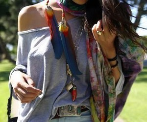 fashion, girl, and feather image