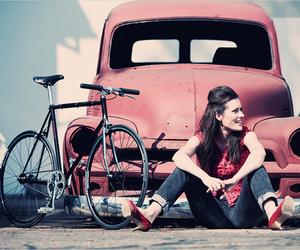 girl, car, and bike image