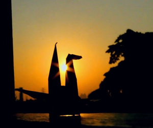 sunset, origami, and photography image