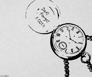 anime, black and white, and clock image