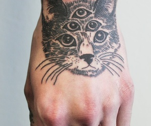tattoo, cat, and hand image