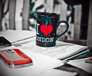 london, phone, and cup image