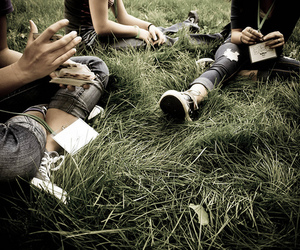 friends and grass image