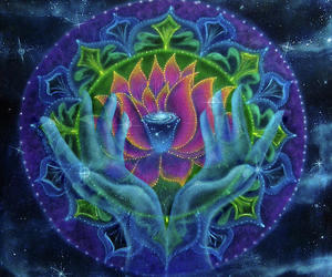 hands, lotus, and psychedelic image