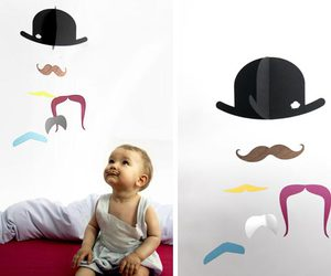 baby, mobile, and moustache image