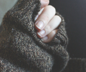 sweater, nails, and hand image