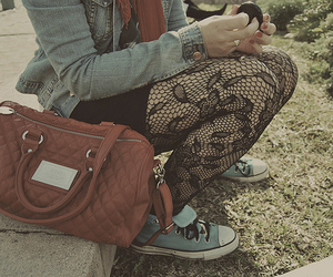 girl, bag, and converse image