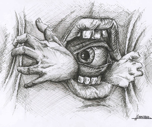 eye, hands, and mouth image