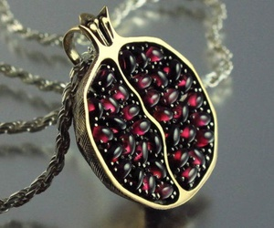 necklace, pomegranate, and fruit image