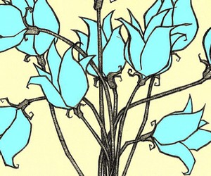 blue, drawing, and flowers image